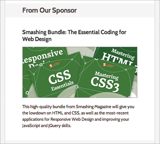 CSS Weekly - Sponsorship ad example